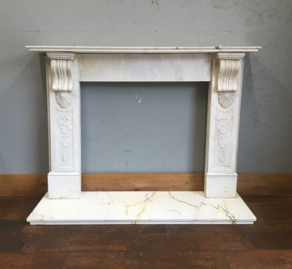 Ornate Panel White Marble Fire Surround & Hearth