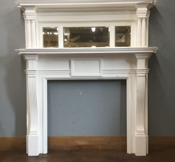 Large Mirrored Fire Surround & Over Mantle
