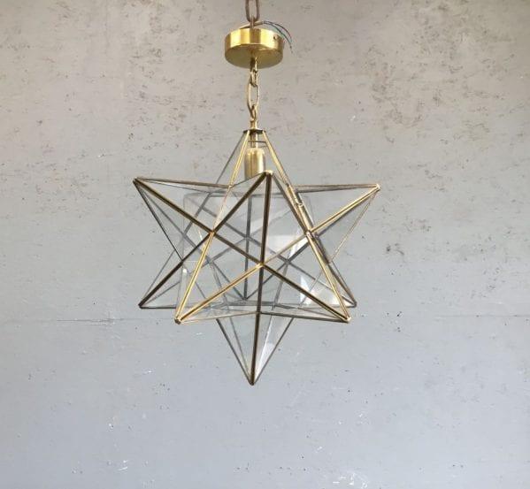 Brass & Glass Star Pendant Light