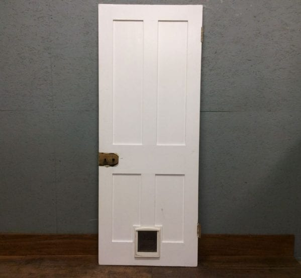 White 4 Panel Door with Cat Flap