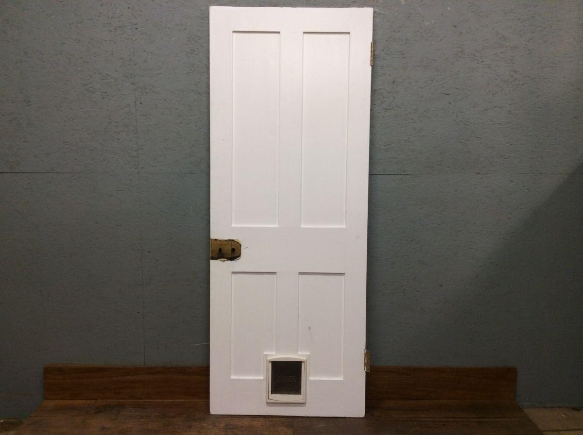 White 4 Panel Door with Cat Flap