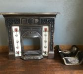 Polished Steel Fully Tiled Fireplace
