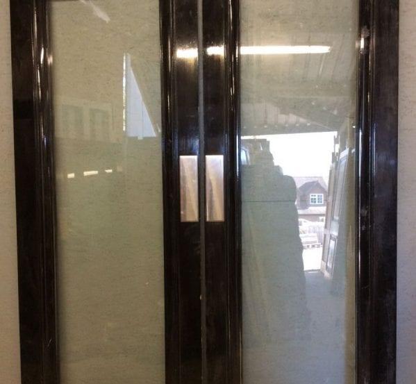 Black Beauty Oak Glass Double Doors