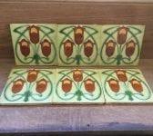 Art Nouveau Geometric Tulip Design Fireplace Tiles