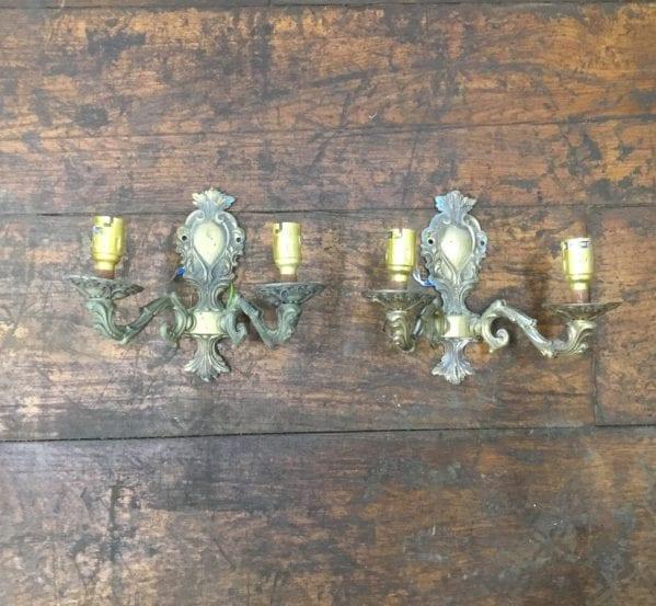 Decorative Brass Sconce Pair