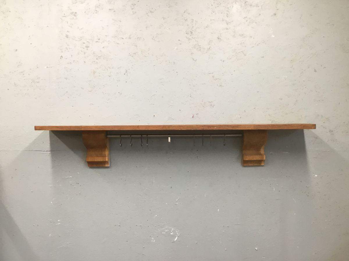 Oak Mantle Shelf & Hooks