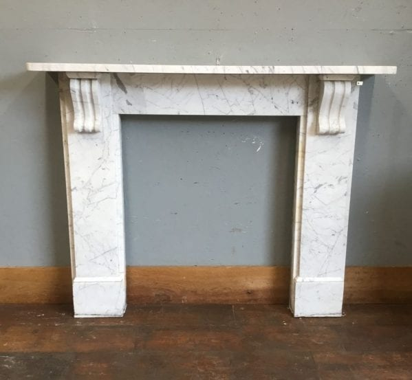 White Marble & Grey Detail Fire Surround
