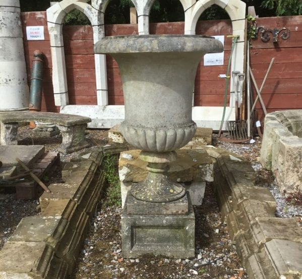 Reclaimed Cast Stone Urn With Plinth