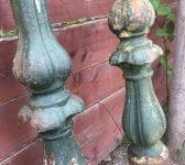 Green Iron Lamp Post Pair