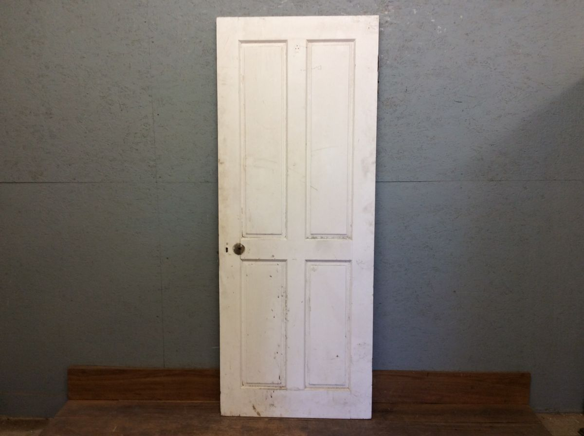 White 4 Panel Door W Key