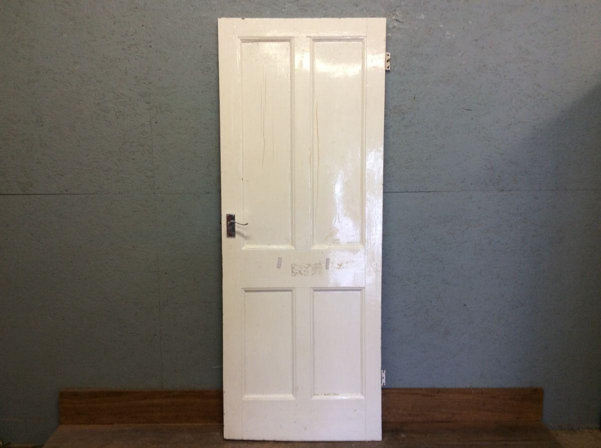 White 4 Panelled Door W Handles