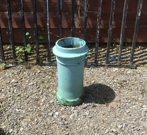 Mint Panted Chimney Pot