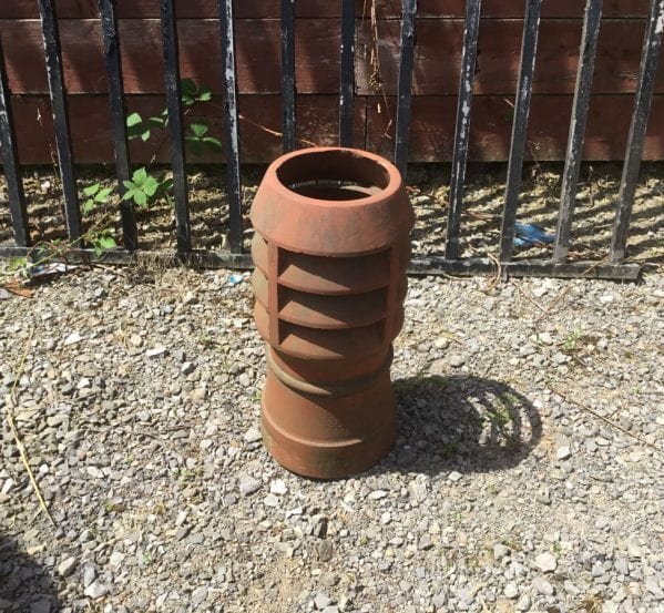 Medium Height Terracotta Louvred Chimney Pot