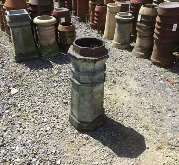 Rich Hexagonal Grey Tall Chimney Pot