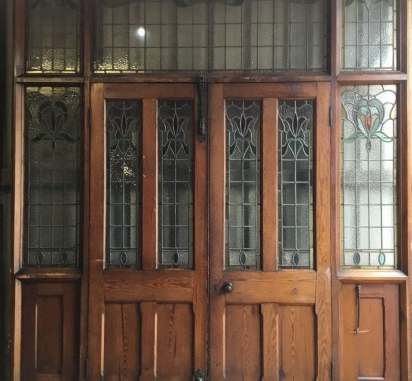 Grand 18th Century Chapel Double Doors w Stained Glass
