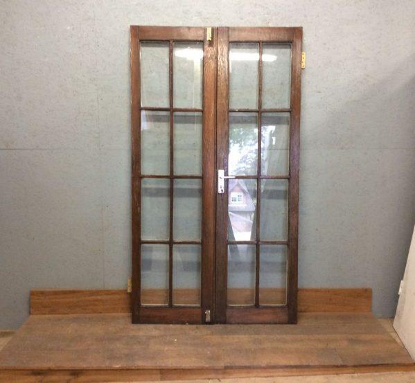 Oak Glazed Double Doors Half Painted