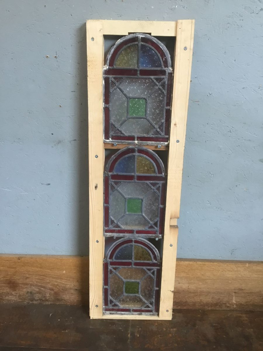 Three Panels Multicoloured Stained Glass