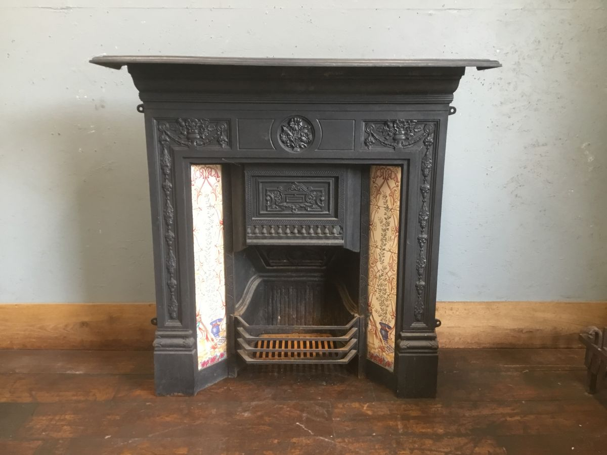 Fully Complete Ornate Tiled Cast Iron Fireplace