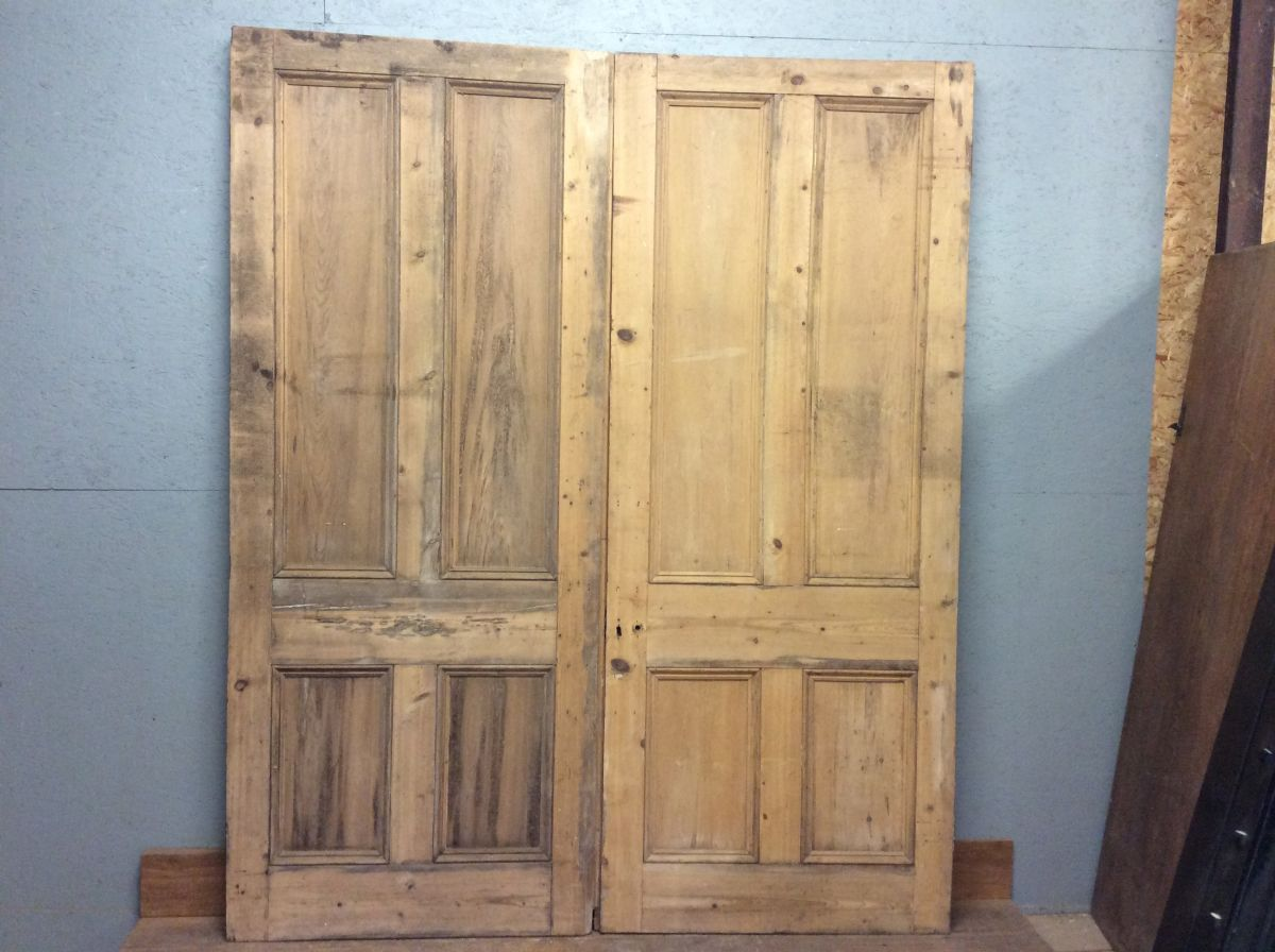 Large Stripped 4 Panel Double Doors